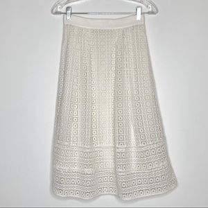 Boden Eyelet Midi Skirt with full lining Size 2